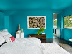 Vivacious Aqua Hue Bathes Modern Bedroom