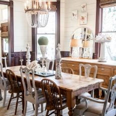 Lovely Country Dining Room With Long Wood Dining Table