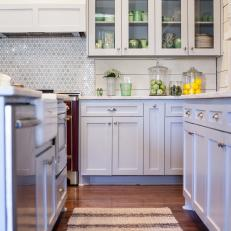 Neutral Glass-Front Cabinets in Charming Country Kitchen