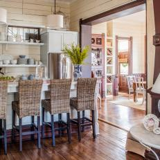 Small Country Kitchen With Wicker Barstools