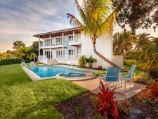 Tropical Backyard Oasis With Pool and Spa