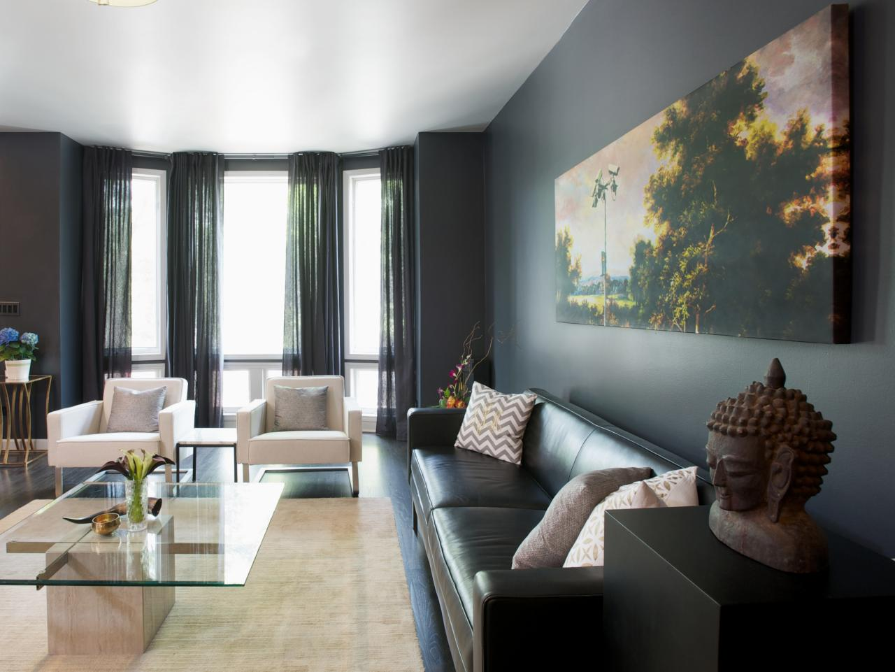 Add drama to your home with dark moody colors hgtv 39 s - Living room colours to go with grey ...