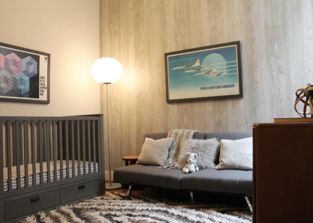 Neutral Nursery with Gray Crib and Wood-patterned Wallpaper