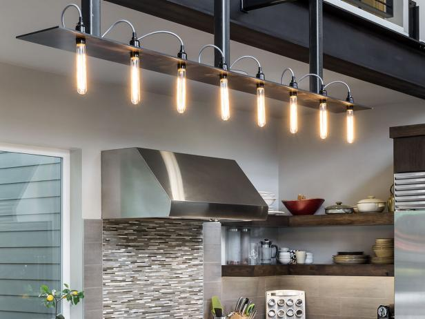 Modern Gray Kitchen with Industrial Style Light Fixture