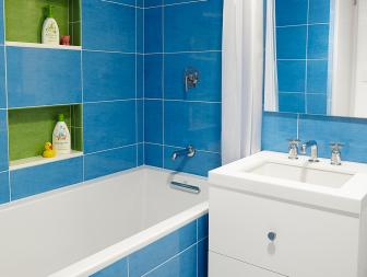Contemporary Blue Tiled Bathroom