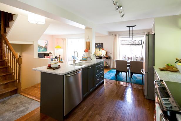 Neutral, Open Kitchen With Center Island