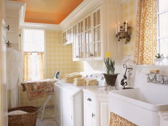 Yellow Cottage Style Laundry Room
