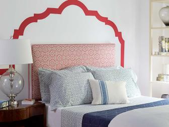 Red, White and Blue Bedroom With Painted Headboard