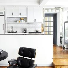 Crisp White Kitchen With Subway Tile
