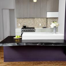 Purple Peninsula in Open Kitchen