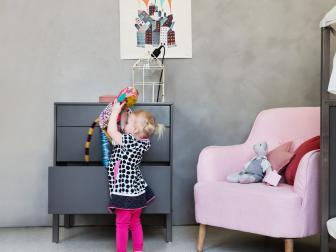 Versatile Gray Dresser in Kid's Room