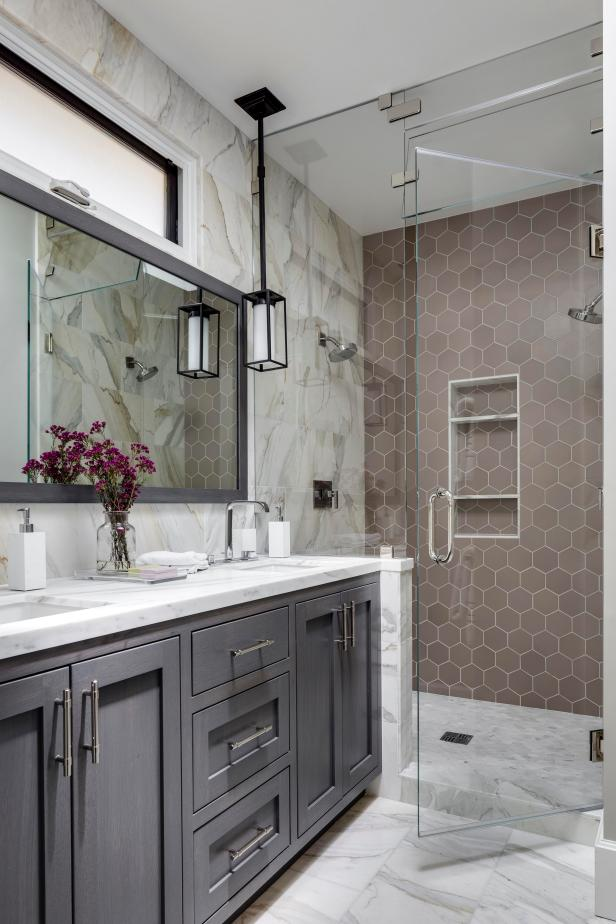 Master Bathroom With Gray Marble Wall Into Shower