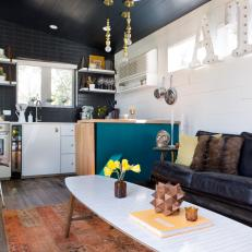 Tiny, Eclectic Living Room & Kitchen