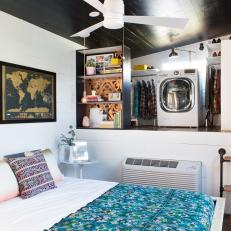Walk-In Closet & Laundry Area in Tiny Bedroom