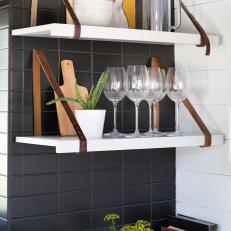 Custom Kitchen Shelves With Vintage Leather Belt Supports