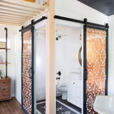 Bathroom Barn Doors With Copper Panels