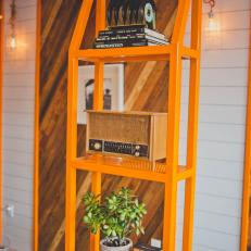Bold Orange Bookshelf at ChiLantro in Austin, Texas