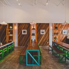ChiLantro Restaurant Features Reclaimed Pine Wood Accent Wall