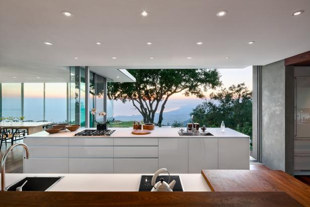 Luxury White Modern Kitchen With Stunning Views