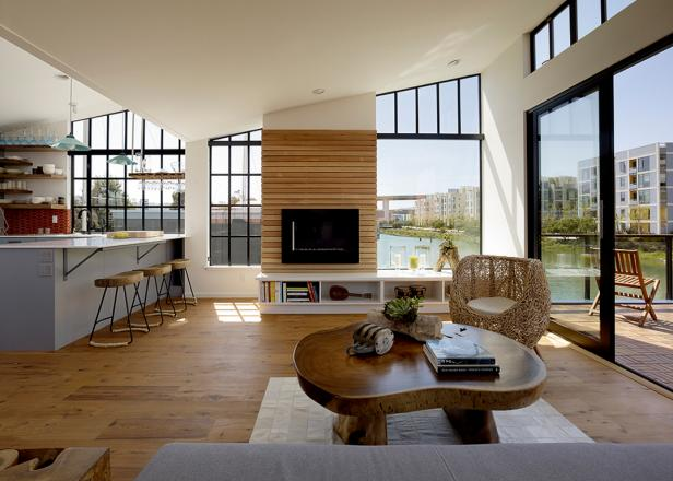 Floating House: Living Room With Water View
