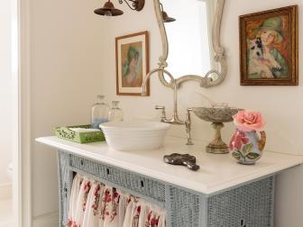 Blue Wicker Dresser Makes Unique Sink Base