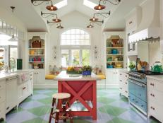 Blue and Green Argyle Floor in Colorful Kitchen