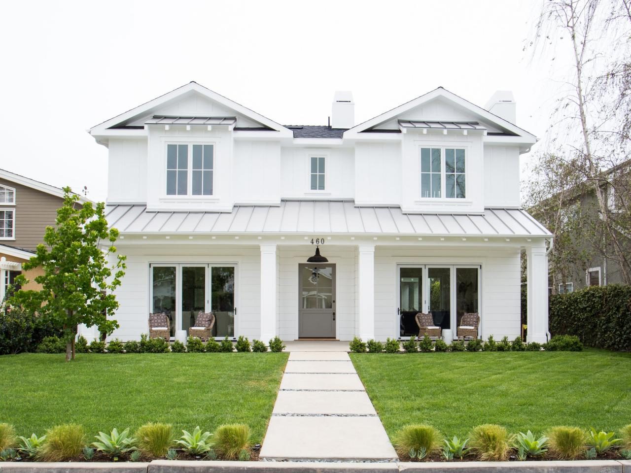 White modern day farmhouse wendy greg blackband hgtv for Farmhouse home designs