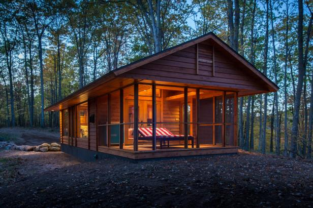 Screened Cabin Porch Creates Indoor-Outdoor Feel
