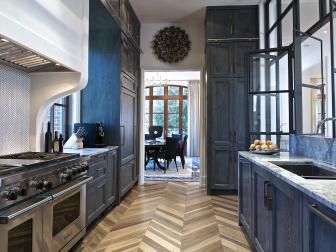 Chevron Wood Floors Take Center Stage in Galley Kitchen