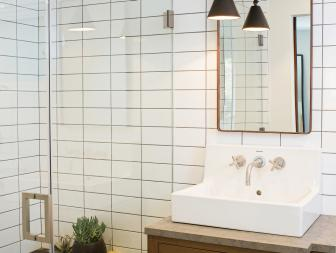 Transitional Bathroom With Black & White Tile Shower