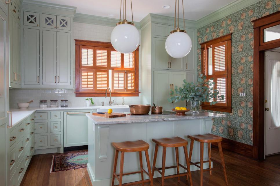 Pale Green Cottage Kitchen With Modern Appliances 2015