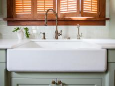 White Farmhouse Sink in Queen Anne Victorian Kitchen