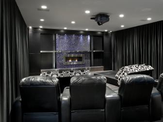 Black Home Theater With Curtains