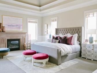 Tranquil Master Bedroom With Tufted Headboard & Pops of Color