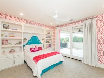 Pink and White Contemporary Girl's Bedroom With Blue Bed