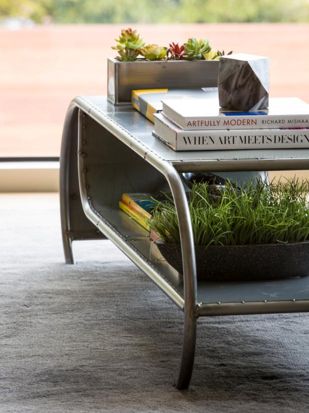 Metal Coffee Table With Two Planters