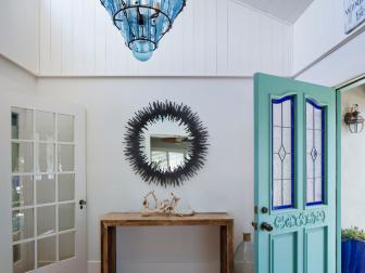 White Cottage Foyer With Bottle Chandelier