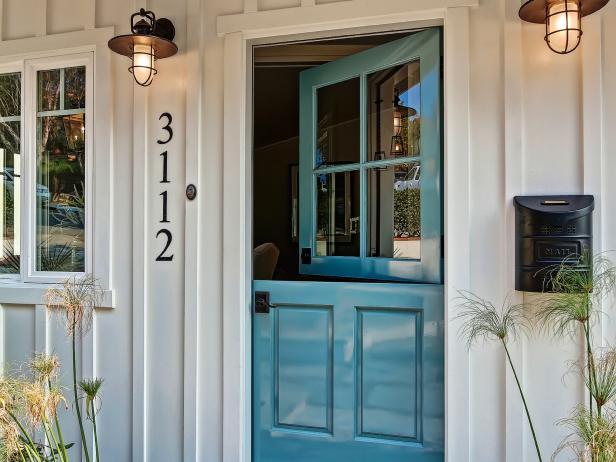 Beachy Entryway With Blue Dutch Door