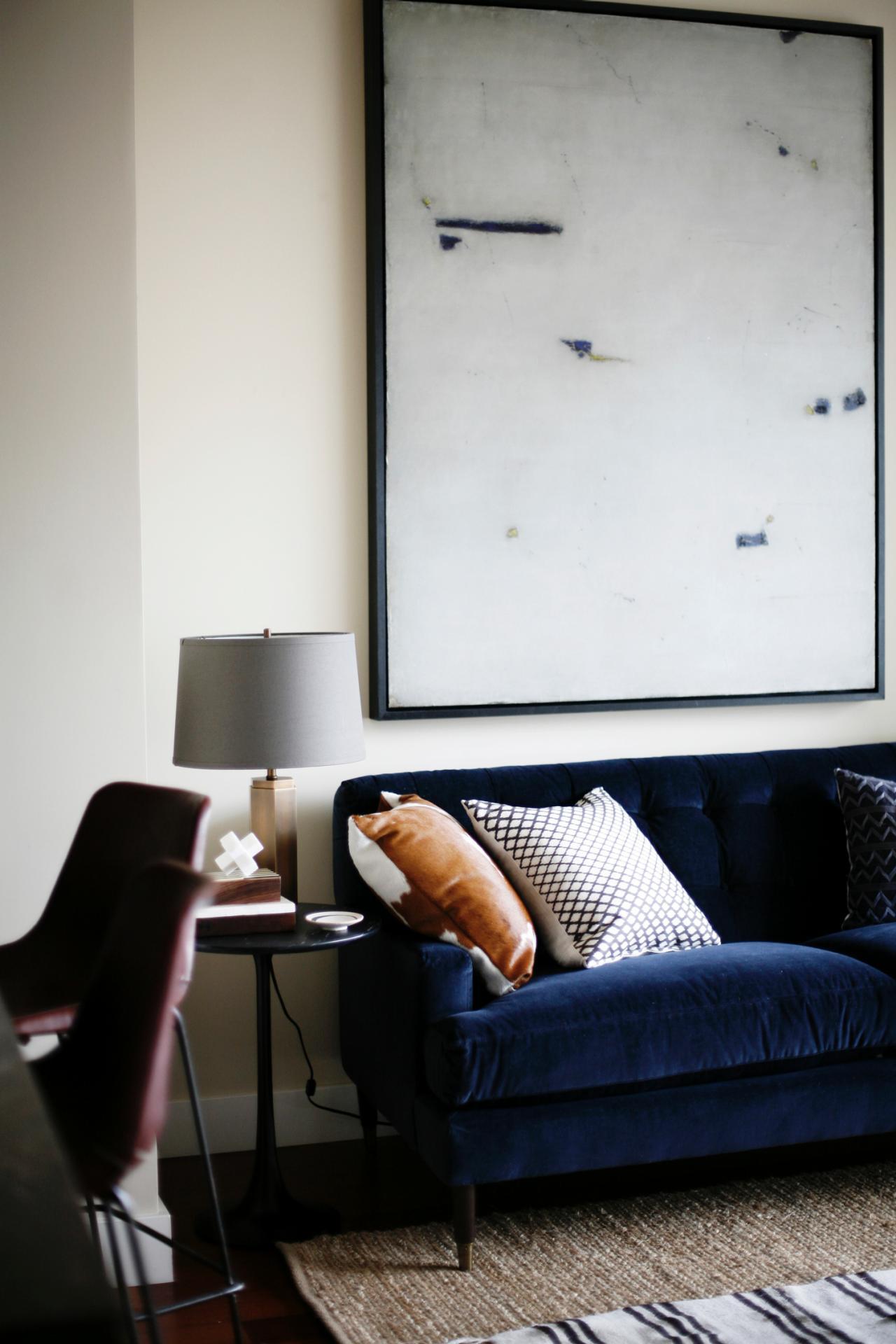 Cool Down Your Design With Blue Velvet Furniture HGTVs - Blue sofa living room design