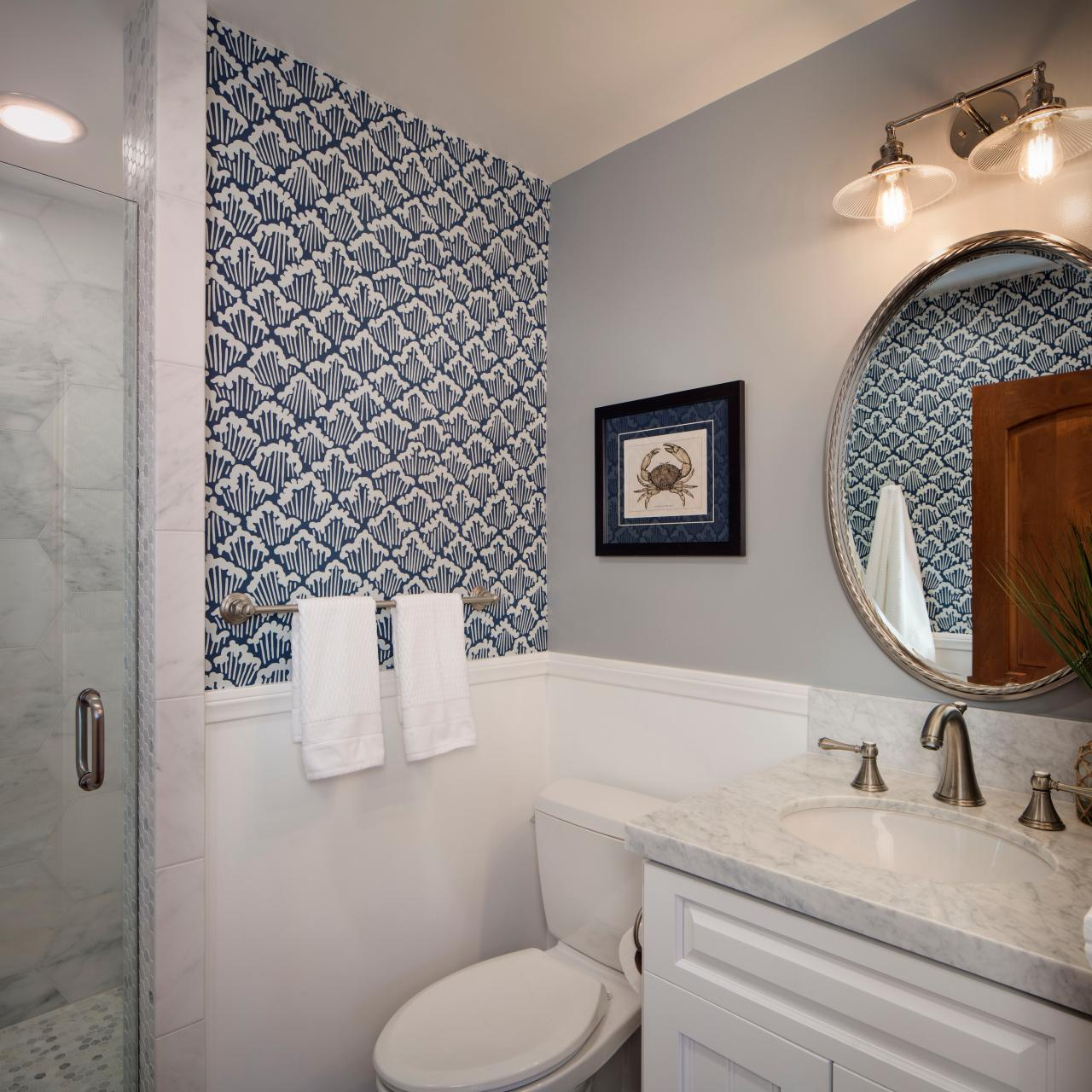 Photo page hgtv for Gray bathroom wallpaper