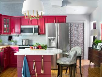 Cranberry + Blue-Gray Palette in Transitional Kitchen