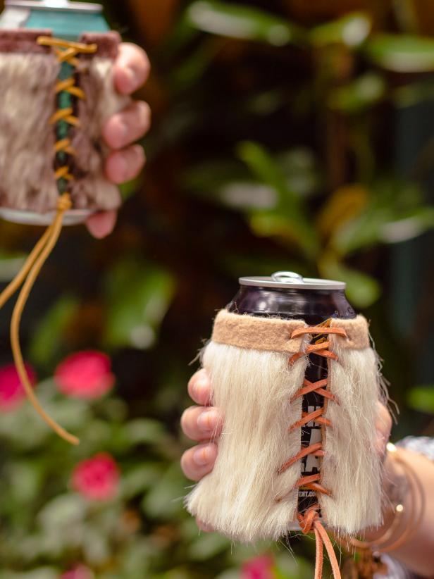 You and your guests will love toasting to good times with these handmade faux fur koozies.