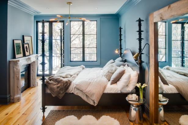 Blue Transitional Master Bedroom With Four-Poster Bed and Fireplace