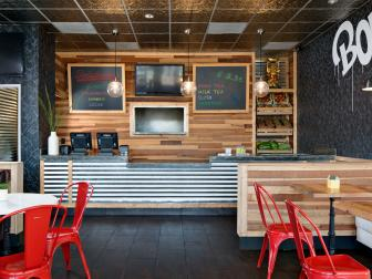 Rustic Paneling Offers Contrast to Urban Design at Tea Bar