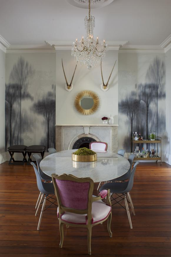 White Eclectic Dining Room With Tree Wallpaper