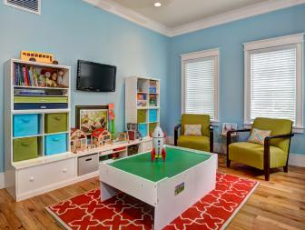 Kids' Playroom with Sky Blue Walls and Game Table