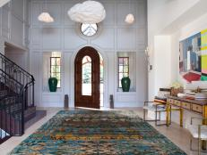 Gray Eclectic Foyer With Cloud Pendants