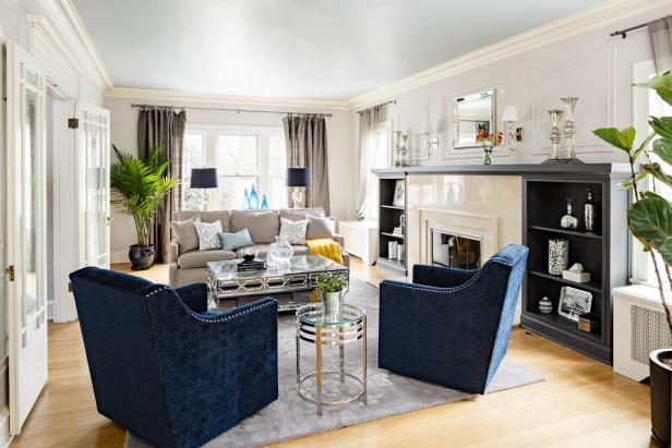 Gray, Transitional Living Room with Glamorous Vibe