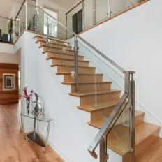 Modern Staircase With Wood Steps U0026 Glass Railing