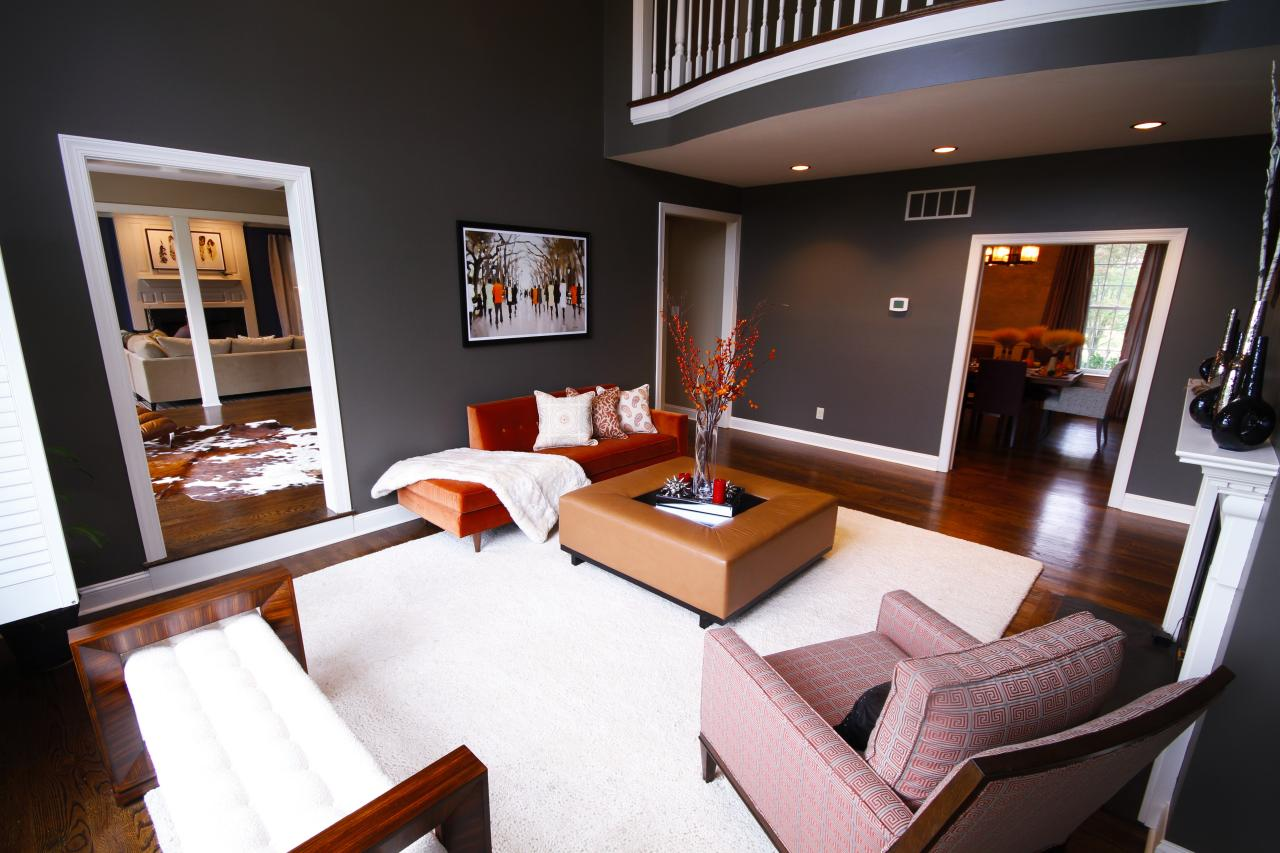 Captivating Contemporary Living Room With Charcoal Gray Walls Part 4